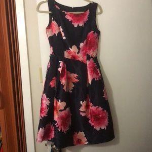 Blue and pink midi dress